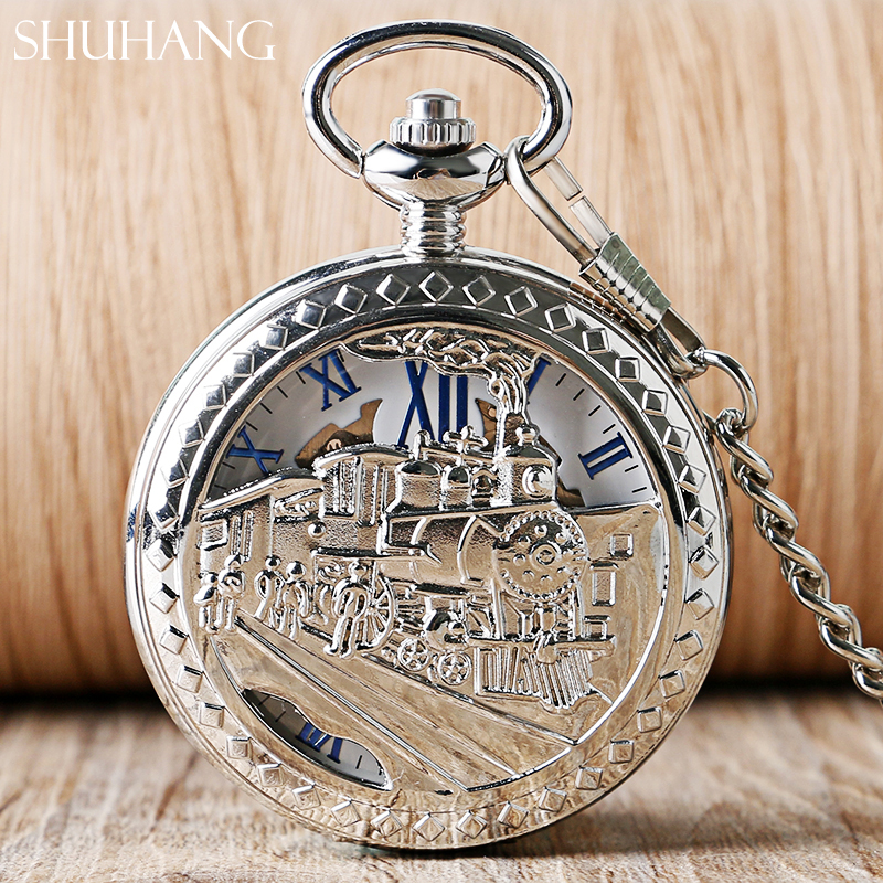 SHUHANG Skeleton Watches Women Men Gifts Mechanical Hand Wind Pocket Watch Running Steam Train Half Hunter Classic Pendant Clock silver retro train locomotive engine design pocket watch mechanical pocket watch with double hunter women men relogio de bolso