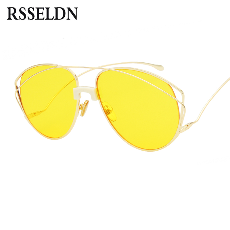 RSSELDN High Quality Unique Women Sunglasses Brand Designer 2018 Fashion Brown Yellow Hollow Out Sun Glasses Female UV400 Metal