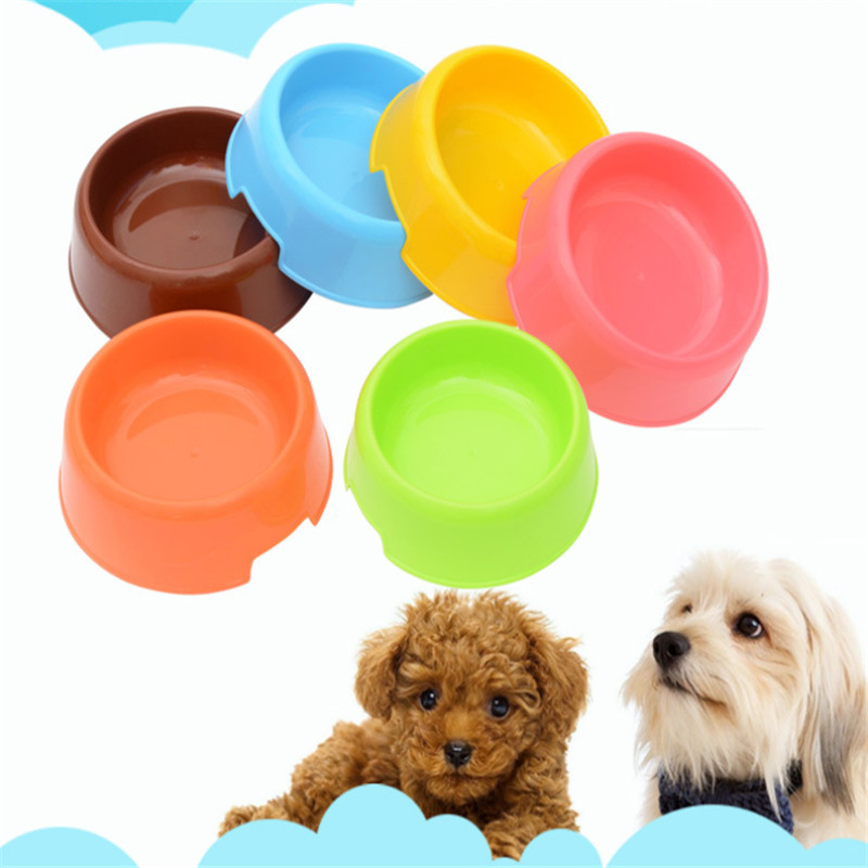 Pet Supplies Plastic Dog Bowls 6 Colors Pet Cat Bowl Feeding Water Food Puppy Pet Dog Dish Feeder Goods