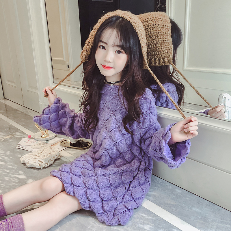 Girls Sweater 4 5 6 8 9 10 11 Years Long Sleeve O-neck 2018 Girls Winter Tops Knit Autumn Children Clothing Teenage Kerst Trui winter girls clothes sweater for baby girl 5 6 7 8 9 years children knit long sleeve pullovers cotton plaid autumn tops teeanger
