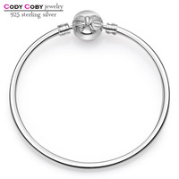 925 Sterling Silver Knot Hand Bracelet Bow Clasp Bangle Fit Original Charm Beads For Men Women