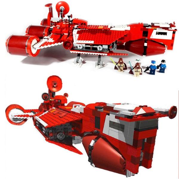 все цены на The Republic Cruiser Model 963Pcs Building Blocks Compatible Legoings Star Wars 7665 Toys онлайн