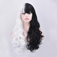 Morematch Danganronpa Monokuma Women Long Curly Wig Cosplay Costume White Black Mix Heat Resistant Synthetic Hair Party Wigs