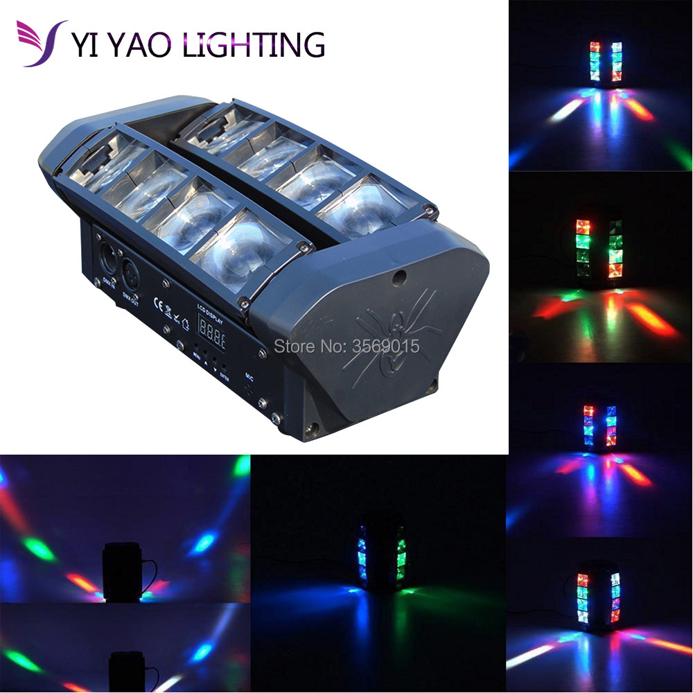 New Led Spider 8x6W 4in1 RGBW Party Beam Moving Head DMX DJ Light