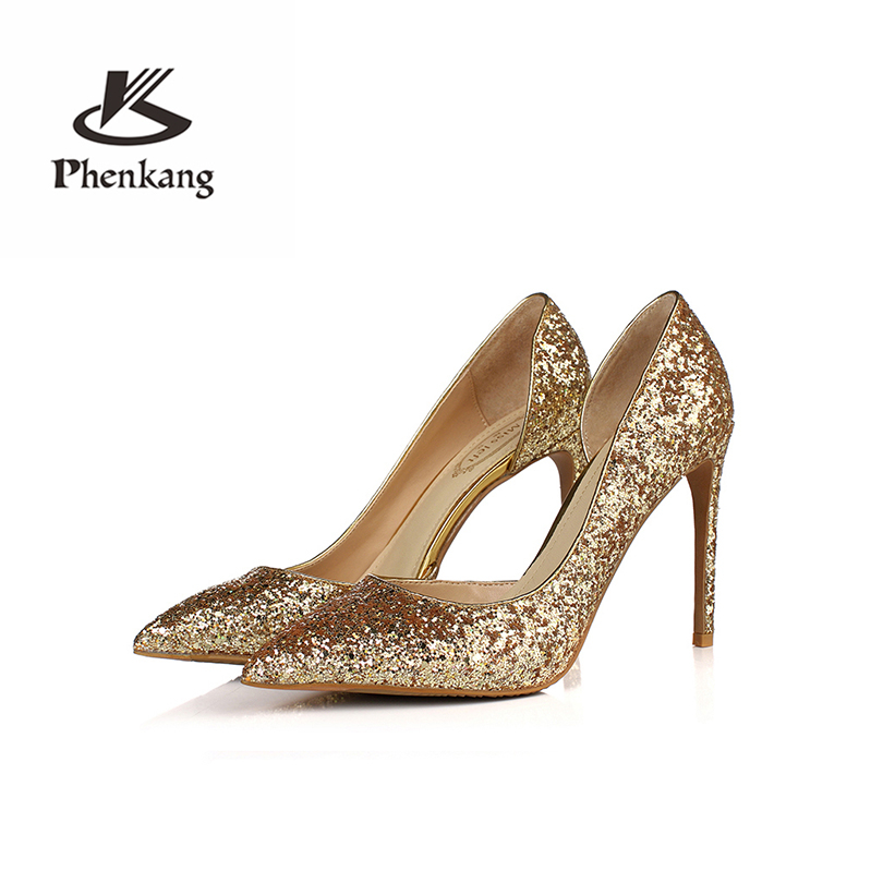 Women wedding high heels glitter 10.5cm sexy elegant Stiletto Pointed Toe 8.5cm pumps party Pumps Shoes Phenkang