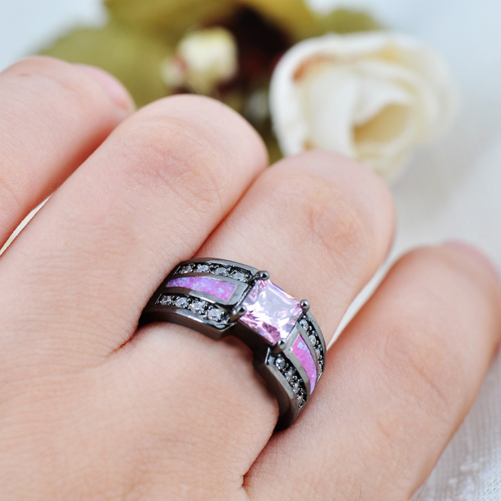 JUNXIN Round Design Pink Opal Ring White Zircon Black Gold Filled ...