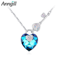 Love Heart Crystals From Swarovski Romantic Necklaces Pendants Wholesale Lock And Key Design Fashion Wedding Jewelry