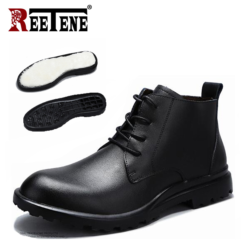 REETENE Genuine Leather Winter Boots Men Shoes Men Waterproof Ankle Boots Work Shoes Male Footwear Warm Fur Snow Boots Men цена