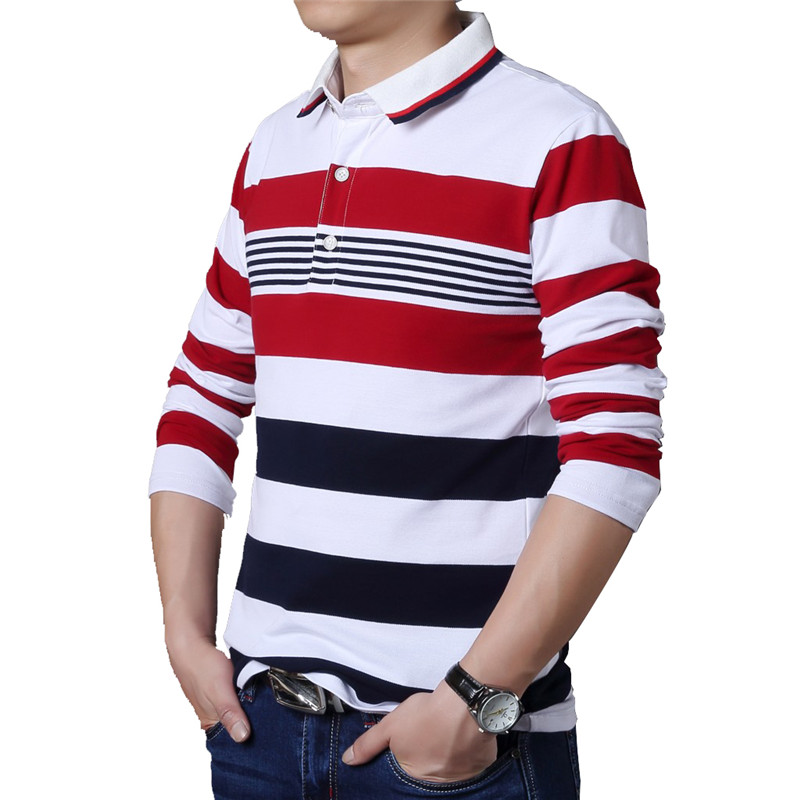 Image 3 - TFETTERS Autumn Casual Men T shirt White and Red Stripe Pattern Fitness Long Sleeve Turn down Collar Cotton Tops Stripe Clothes-in T-Shirts from Men's Clothing