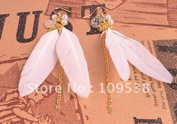 Hot Sale! Foreign trade the single white feather pearl earrings grape bunches, Free shipping, buy 5 get 1 free.