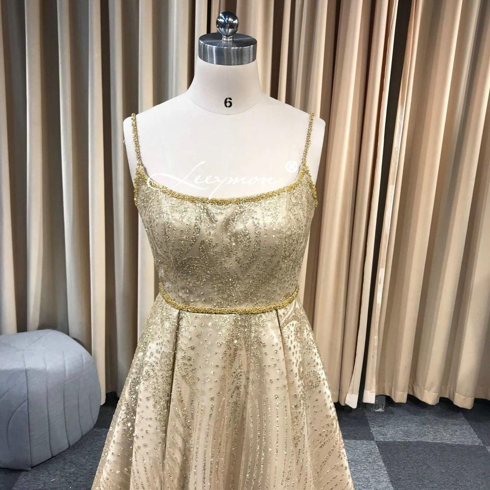 Leeymon 2019 fait sur commande or paillettes Spaghetti bretelles a-ligne robe de bal longueur de plancher robes - 3