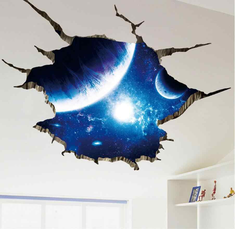 Outer Space Planets 3D Wall Stickers for Living Room Bedroom Floor Decoration Vinyl DIY Home Decor Wall Decals