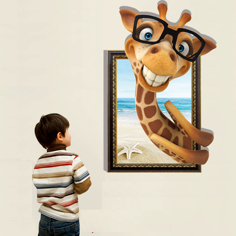 3D Glass Giraffe Wall Stickers Decals Art For Baby Nursery Home Decoration  Animal Cartoon WallPaper Kids Photo HD Frame Poster In Wall Stickers From  Home ...