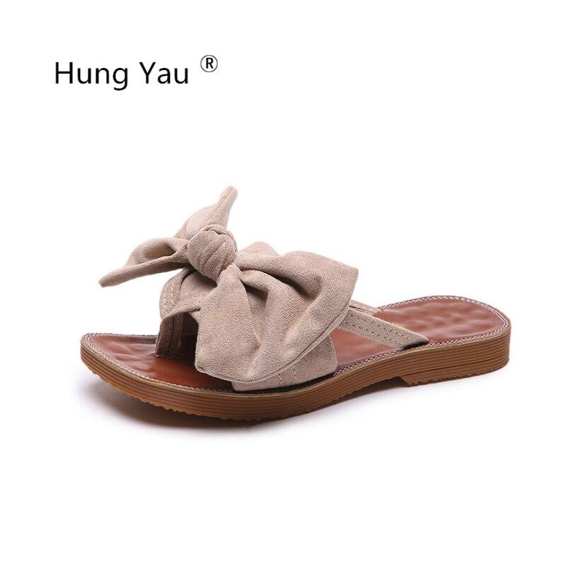 Frauen Schuhe Hing Yau Frauen Sommer Weibliche Hausschuhe Flach Mode Bogen-knoten Frauen Sandalen Schuhe Slipers Für Frauen Zapatos Schwarz Rosa Größe Uns 8 Frauen Sandalen