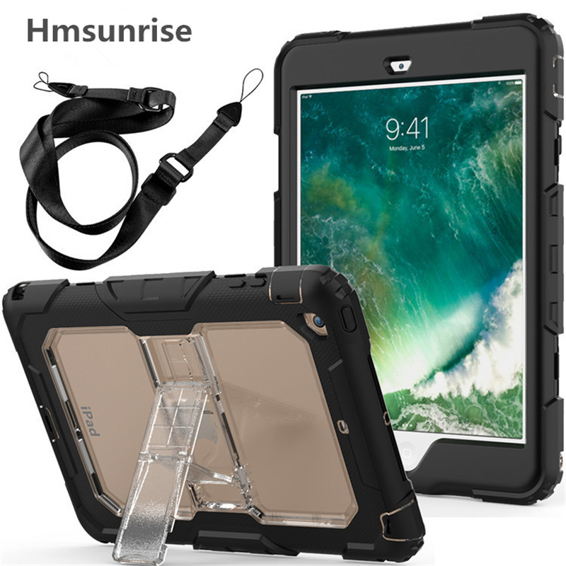 Hmsunrise For ipad mini case Kids Safe Shockproof Heavy Duty Silicone Cover Build-in Bracket Shoulder strap for ipad mini 1/2/3 hmsunrise case for apple ipad air 1 kids safe shockproof heavy duty silicone hard cover for ipad 5 case with wrist strap