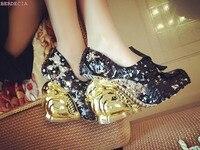 Уникальный дизайн блестка туфли лодочки с круглым носком туфли с Обувь На Шнуровке Золотой Кролик Форма пятки водонепроницаемый высокий ка