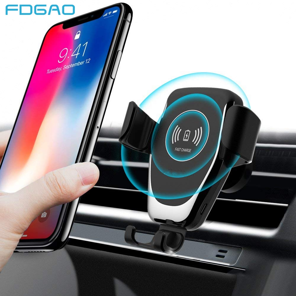 FDGAO Car Mount Qi Wireless Charger for iPhone 11 Pro XS Max X XR 8 10W Fast Charging Phone Holder For Samsung S8 S9 S10 Note 10 image