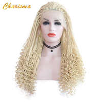 Charisma Synthetic Pure Wig Lace Wig Long Braided Box Braids Hair Lace Front Wig For Black Women Blonde Wigs