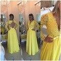 Vestidos de baile 2017 Mulheres Do Partido Evening Formal Vestido Pageant Um line manga comprida sheer voltar pérolas vestido de renda amarela noiva