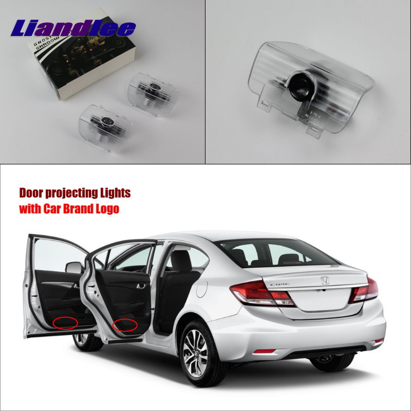 Liandlee For Honda CR-Z CRZ / Spirior 2010~2013 Door Ghost Shadow Lights Car LED Projector Welcome Light Courtesy Doors Lamp 3528smd car led welcome under door courtesy light lamp bulb auto courtesy light source for volvo c30 v70 xc70 xc90 s60 s80 v60