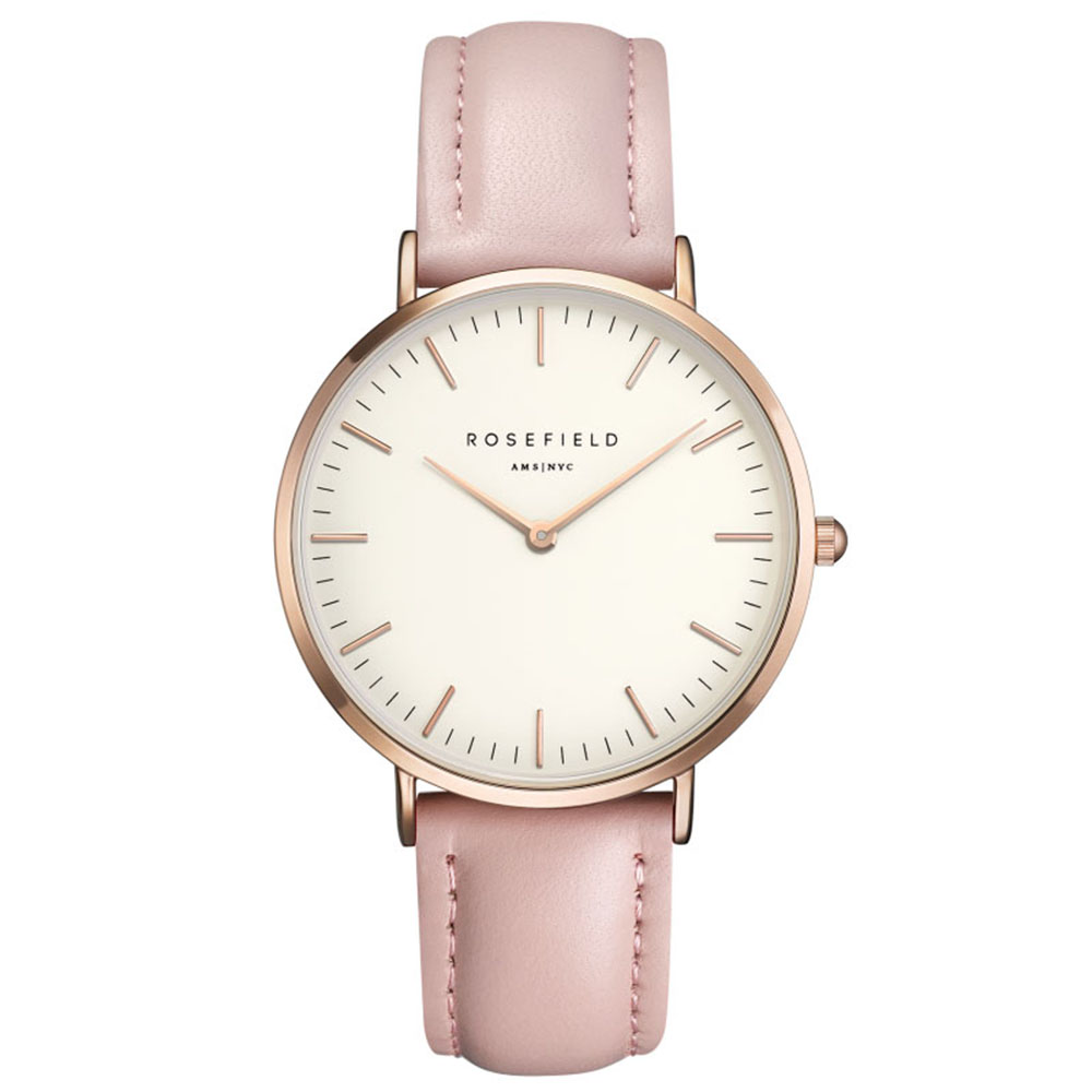 Ladies Ultra-Thin Watch - rose gold - pink leather strap