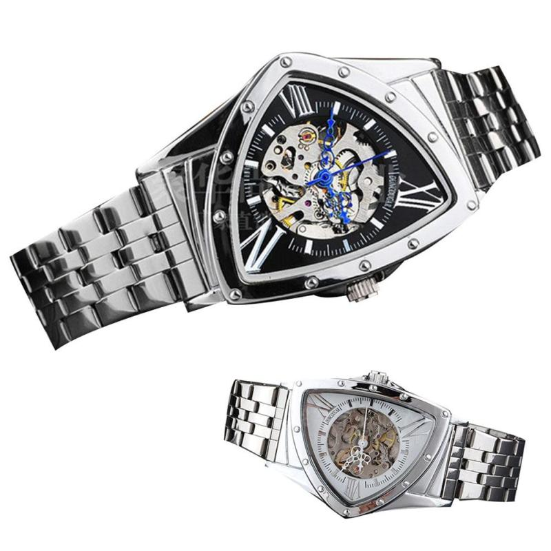 2017 Hot Sale Automatic Mechanical Watch Men Hollowed Heart-Shaped Luxury Brand Stainless Steel Bracelet Wrist Watch Relogio stylish 8 led blue light digit stainless steel bracelet wrist watch black 1 cr2016