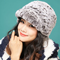 Lady's winter warm real rabbit fur knitting peaked cap Christmas present