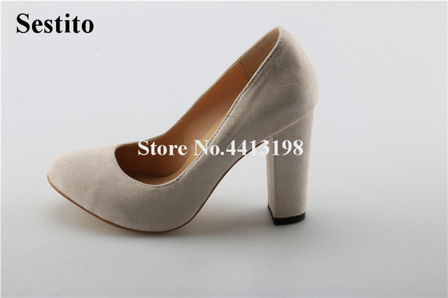 361a61bed6d Women Classical Style Round Toe Suede Leather Chunky Heel Pumps Slip-on  Super High Heel Thick Heels Formal Dress Shoes