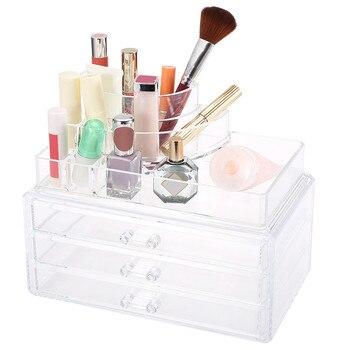 Stylish Portable Transparent Makeup Organizer Storage Box Acrylic Make Up Organizer Cosmetic Organizer Makeup Storage Drawers makeup organizer box