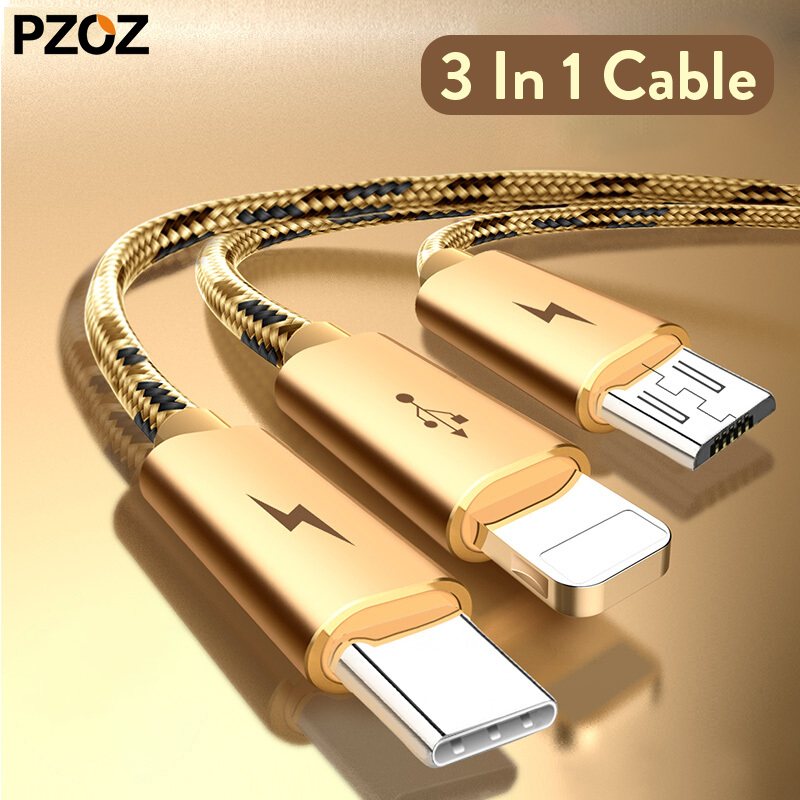 Pzoz micro usb cable 3 in 1 usb charger fast charging wire cord type-c for iphone 6 samsung s8 note 3 huawei mate 10 pro P9 lite