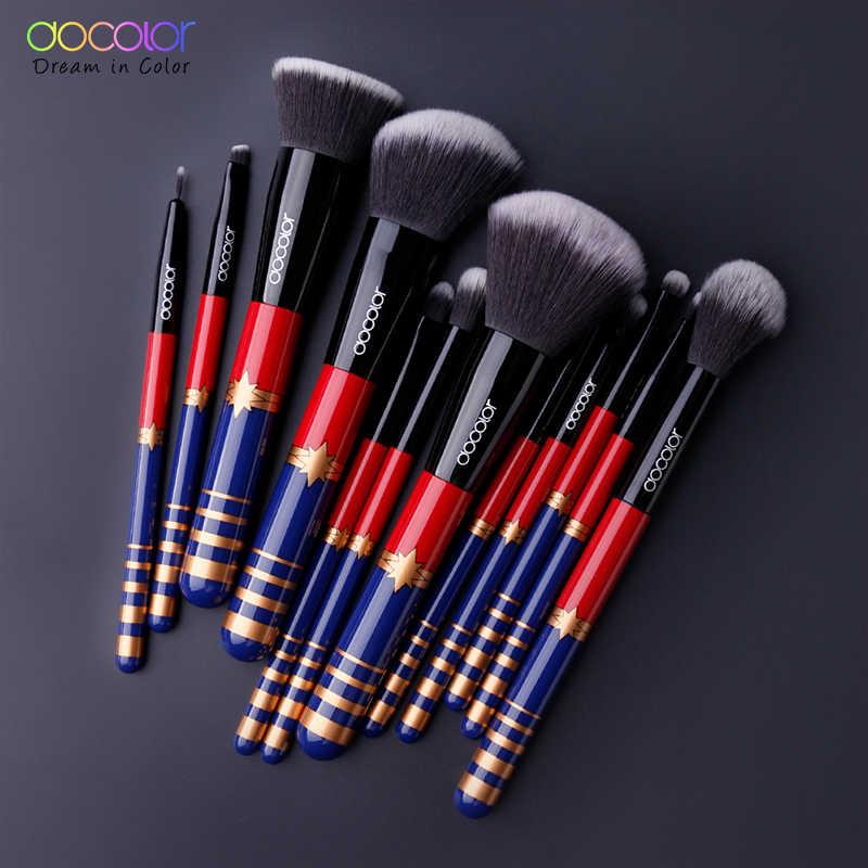 Docolor 12 шт. набор кистей для макияжа Пудра основа для макияжа Тени для век кисти для макияжа Косметика Мягкие синтетические волосы подводка для глаз кисть для губ