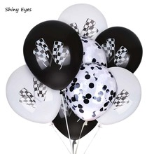Shiny Eyes Black White Racing Flag Balloons Checkered Car For Theme Party Decorations