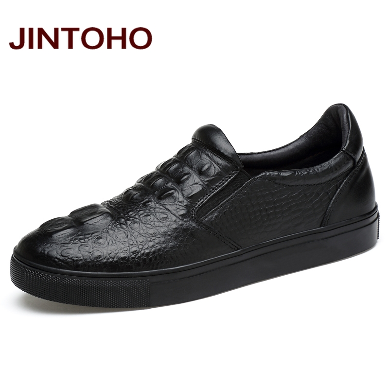 JINTOHO 100% Genuine Leather Men Shoes Fashion Black Loafers Luxury Brand Men Shoes Designer Men Flats Slip On Shoes For Men