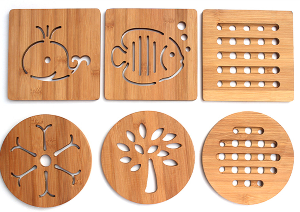 bamboo hollow heat resistant pad wooden coasters cup wedding table kitchen decoration drink coasters placemat - Drink Coasters