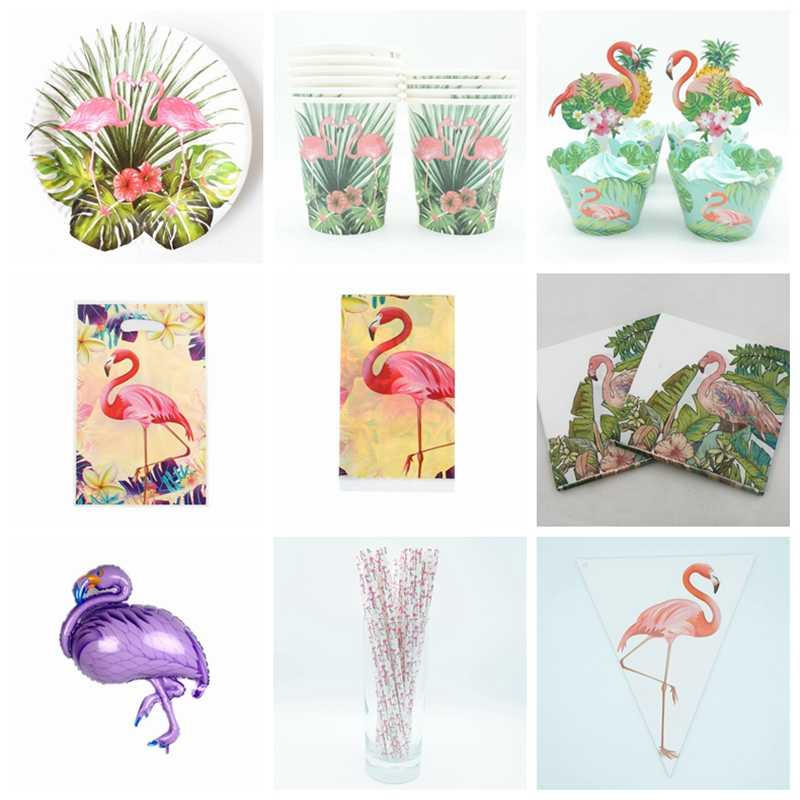 Birthday Party Disposable Tableware Set Flamingo Party Paper Plate Cup Napkin Balloons Tablecloth Kids Happy Birthday Supplies