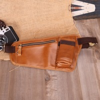 Men Genuine Leather Chest Bags Travel Casual Messenger Crossbody Bags Belt Men Phone Pouch Bags For Man Small Thin Chest Pack