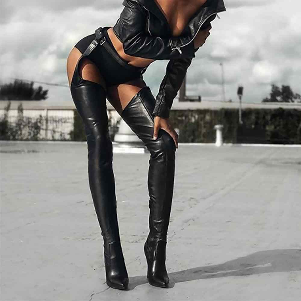 2019 חדש נשים PU מעל הברך מגפיים גבוהה אתחול ריהאנה סגנון מעל הברך מגפי נשים נעלי הבוהן מחודדת 10 cm עקבים גבוהים מגפיים