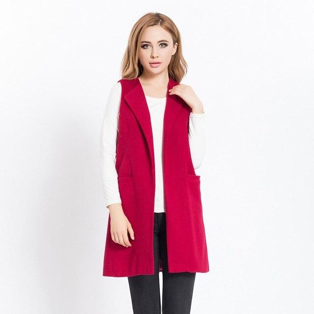 New Women Spring Wool Blend Vest Waistcoat Ladies Winter Long Camel Vest Sleeveless Jacket Coat Plus Size Veste Femme Gilet