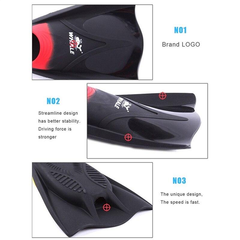 Ballena Aletas de natación buceo aletas snorkel adultos Aletas de natación Trek Para buceador profesional Rana Zapatos Silicona - 5