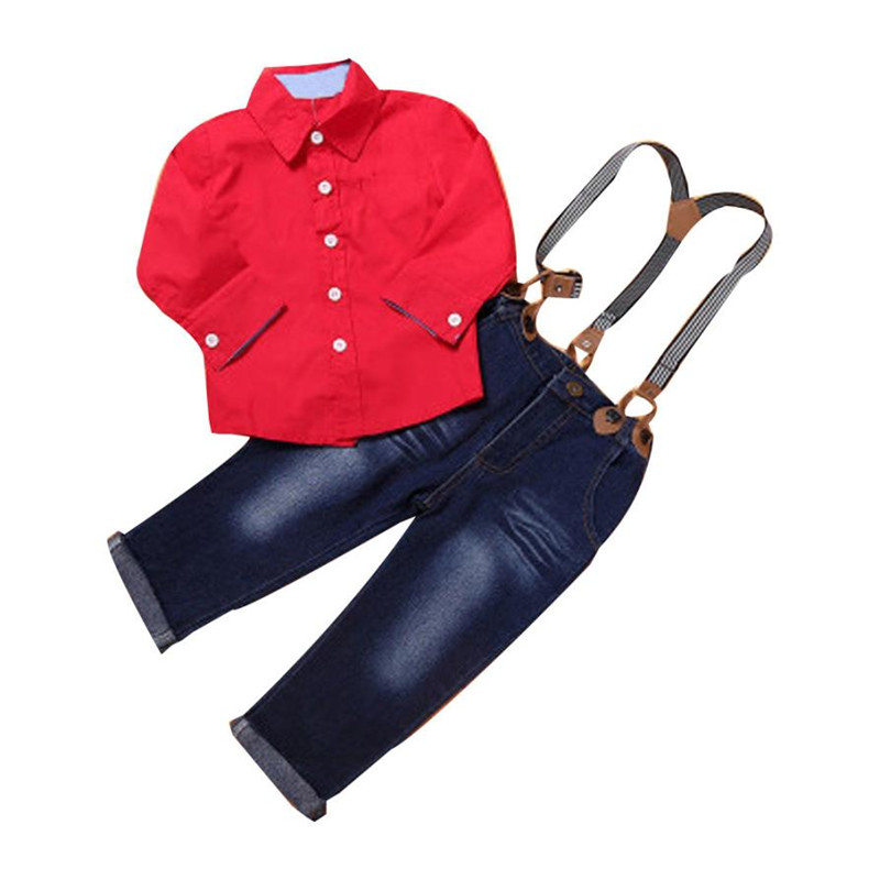 High Quality 1Set Kids Toddler Boys Handsome Red Shirt+Braces Trousers Baby boy clothes Outfits Roupas infantis menino  2017 new arrival 3pcs baby boys long sleeve t shirt tops braces trousers clothes fashion kids outfits set for 1 6y