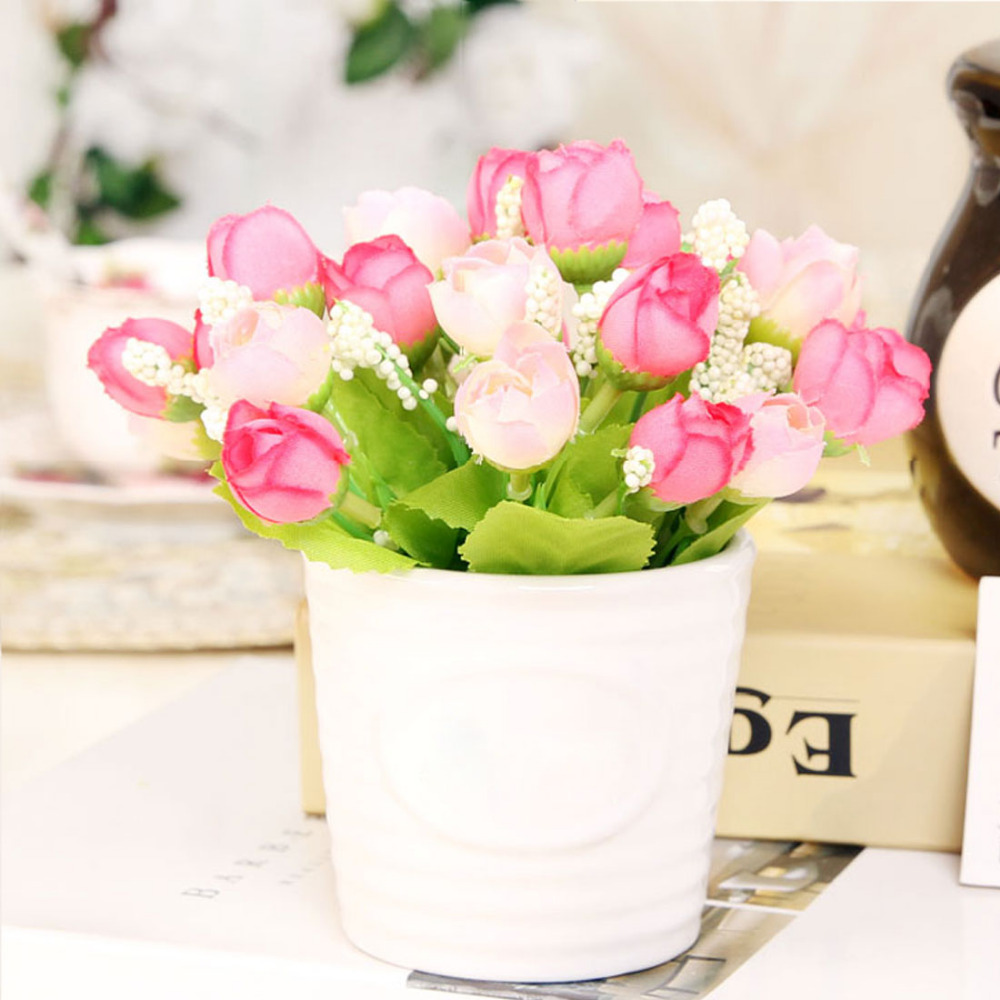 Rose 1 Buds Artificial Flowers Real Touch Rose Flowers Bouquet Home