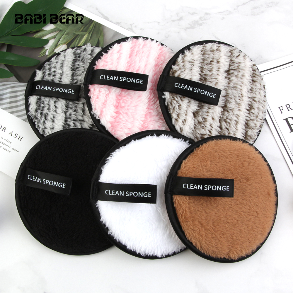 Cosmetic Puff Hard-Working 6 Colors Microfiber Makeup Remover Sponge For Foundation Facial Wash Cleansing Puff Soft Wet Washing Cotton Makeup Beauty Tools Drip-Dry