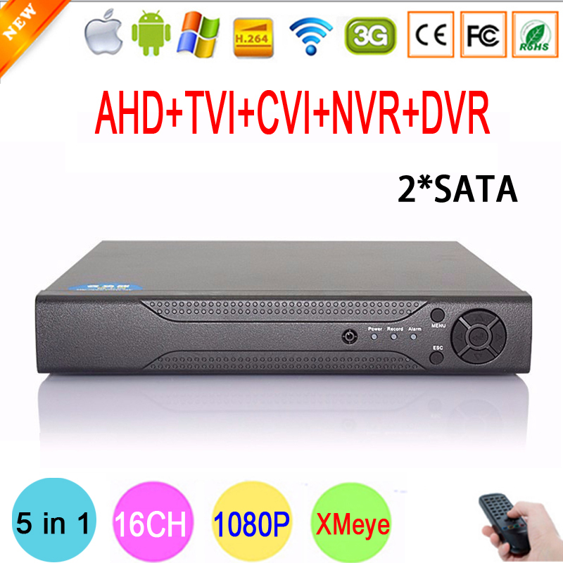 Hi3521A Chip Xmeye Metal Case 1080N 16 Channel 16CH 2 SATA Surveillance Hybrid HD IP TVi CVI NVR AHD CCTV DVR Free shipping