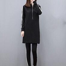 Liva Girl otoño mujer conjuntos Show Thin manga larga Sudadera con capucha y pantalones Fit negro de talla grande conjuntos de mujeres casuales ropa conjuntos de dos piezas