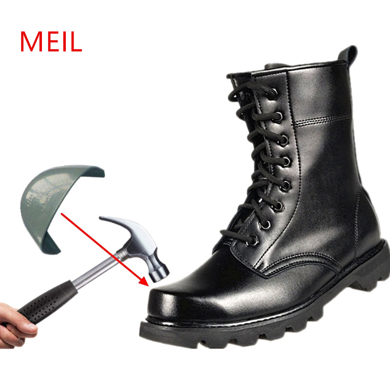 2019 Spring Men Military Boots Genuine Leather Steel Toe Shoes Lace Up Black Waterproof Work Boots Men Platform Motorcycle Boot