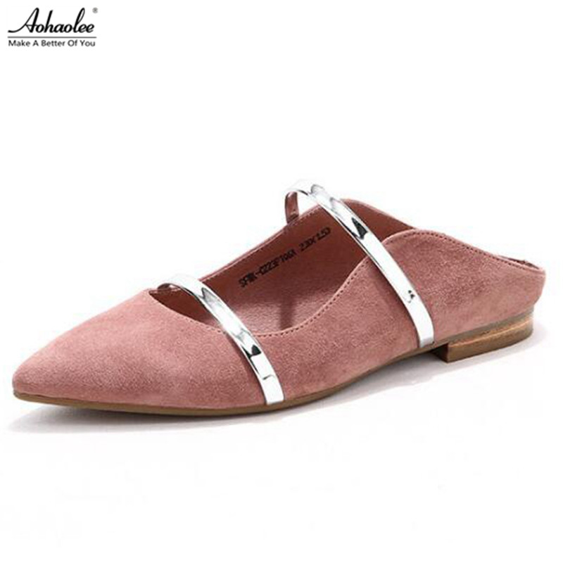 Aohaolee Fashion Pointed Toe Women's Leather Shoes Ballet Flats Slip-on Plus Size Genuine Leather Lady Shoes pu pointed toe flats with eyelet strap