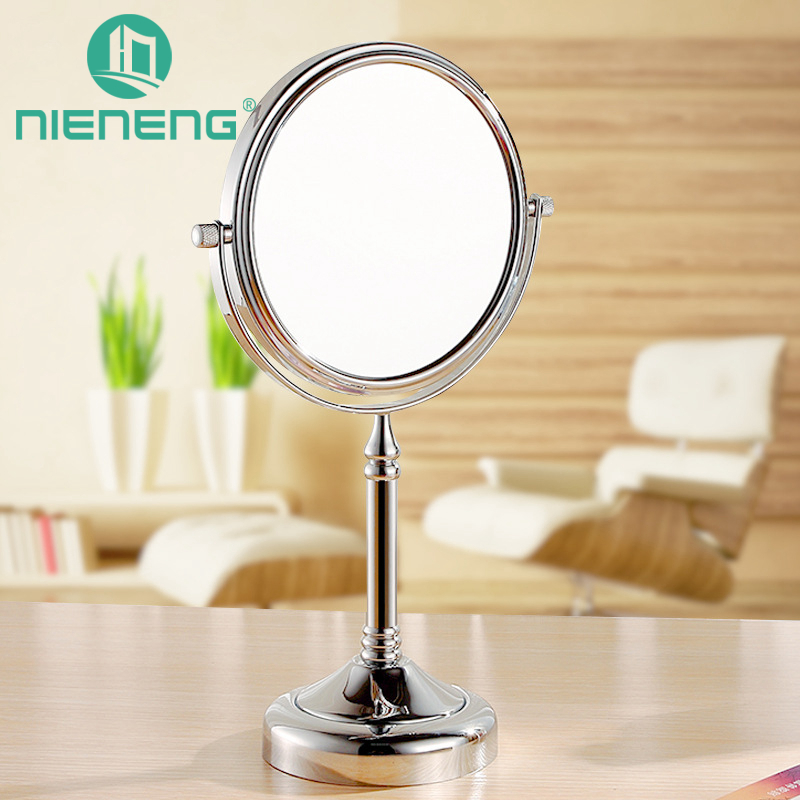 Nieneng 8 inch Bathroom Mirror Adjustable Make Up Mirror Dual 2 Sides Cosmetic Bath Mirror Decoration 7x 10x Magnifying ICD60529 large 8 inch fashion high definition desktop makeup mirror 2 face metal bathroom mirror 3x magnifying round pin 360 rotating