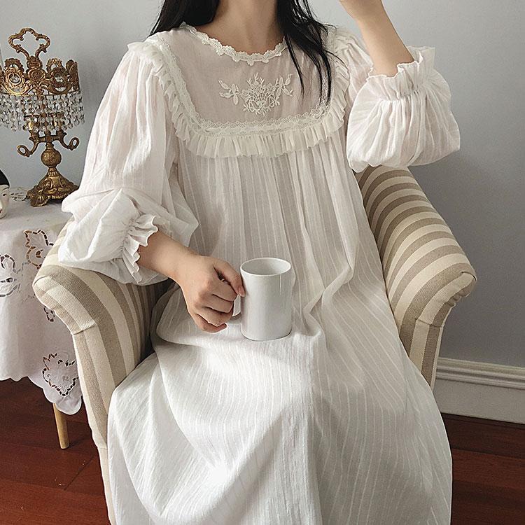 Женское платье в стиле Лолиты; Ночная рубашка принцессы в винтажном дворцовом стиле с кружевной вышивкой; Ночная рубашка в викторианском ст...