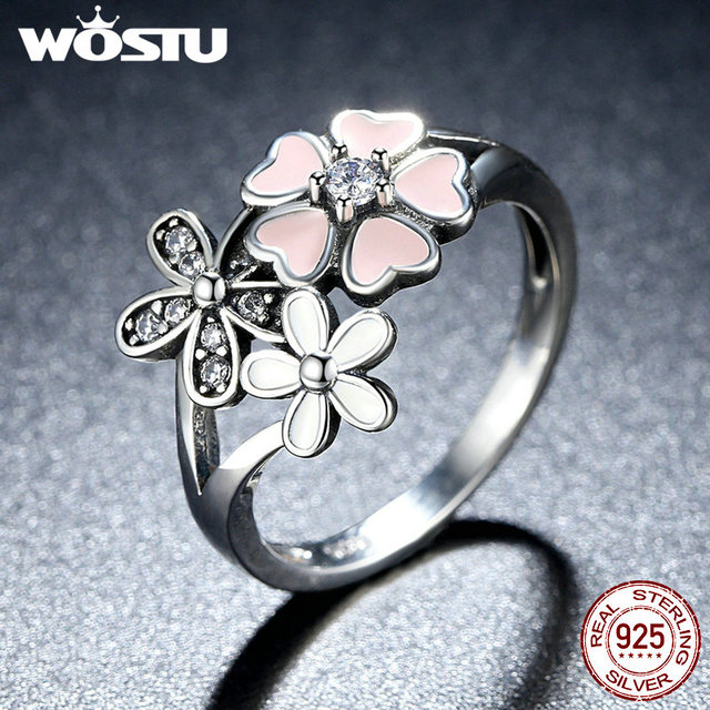 100% 925 Sterling Silver Poetic Daisy Cherry Blossom Wedding Rings Compatible Wi