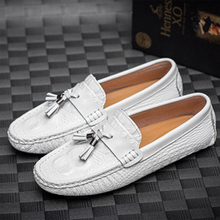 Italian Men White Leather Dress Shoe Summer Design Sneakers Apatos De Piel Cocodrilo Hombre Comfortable Frange Loafers